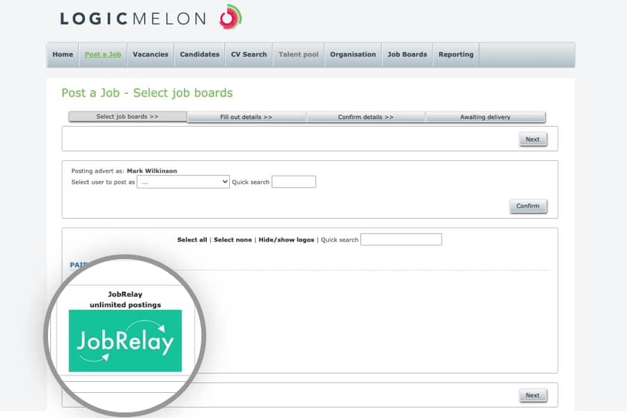 LogicMelon job board selection showing JobRelay as an option