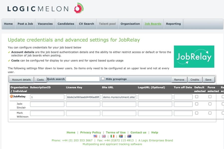 JobRelay settings screen within LogicMelon